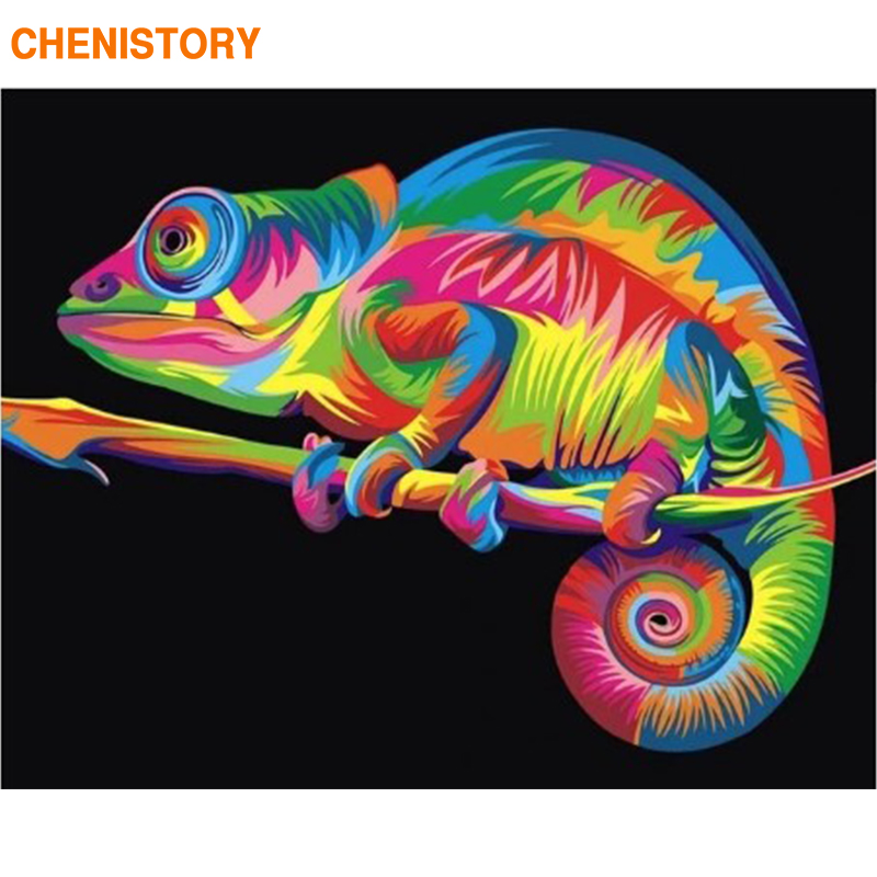 CHENISTORY Chameleon Canvas Picture DIY Paint By Numbers Handpainted Wall Art Picture By Numbers Diy Gift For Home Decors 60*75