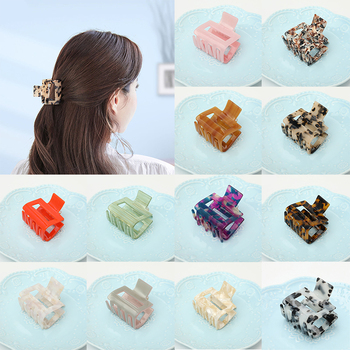 Korean Acrylic Hair Claws For Women Vintage Square Marble Textured Geometric Crab Clamps Girls Accessories Clips