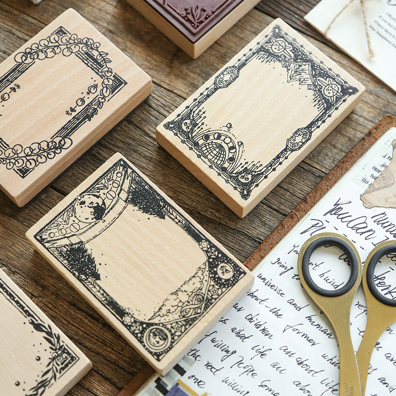 Vintage Leaf Floral Large Border Decoration Stamp Wooden Rubber Stamps For Scrapbooking Stationery Diy Craft Standard Stamp