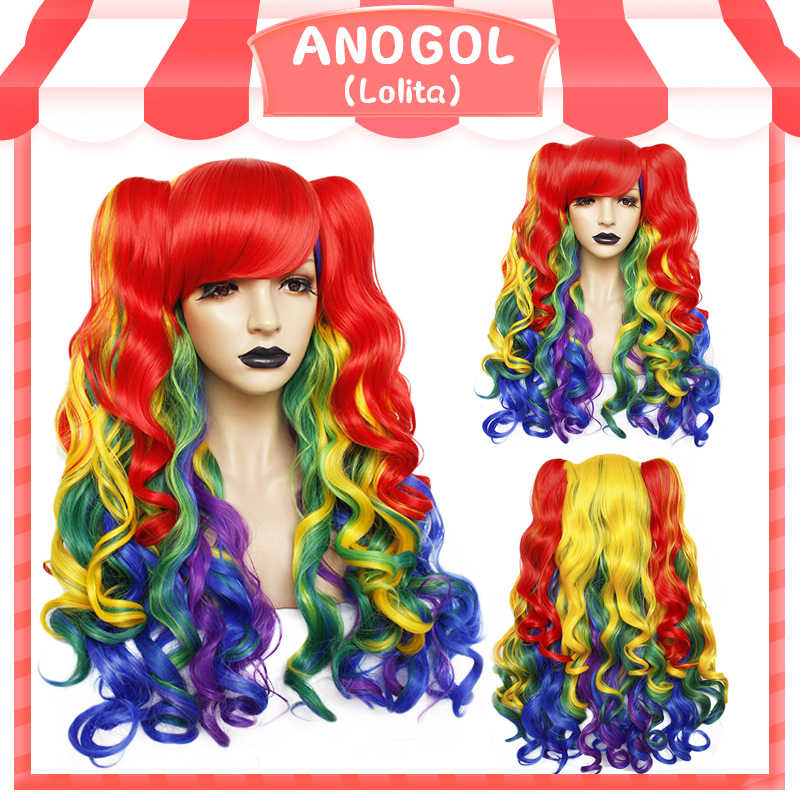 ANOGOL Lolita Rainbow Wig High temperature fiber Pigtail 6ix9ine  My Little Pony Synthetic Cosplay Wigs For Girls Halloween
