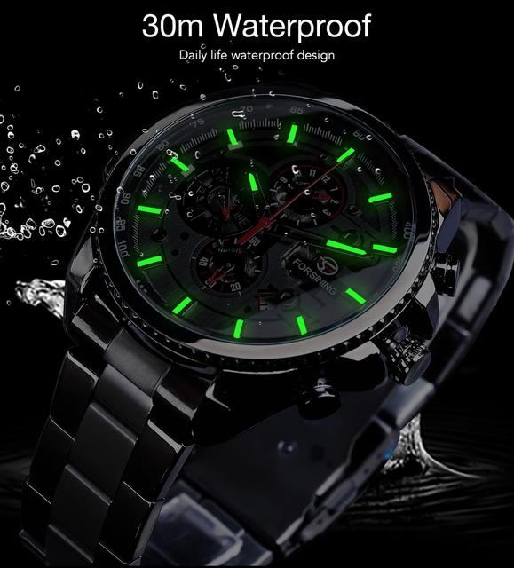 Forsining Three Dial Calendar Stainless Steel Men Mechanical Automatic Wrist Watches Top Brand Luxury Military Sport Male Clock 6