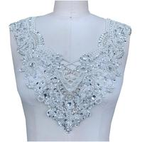 Hand made silver rhinestones ivory pearl lace applique sew on trim patches for wedding dress accessory