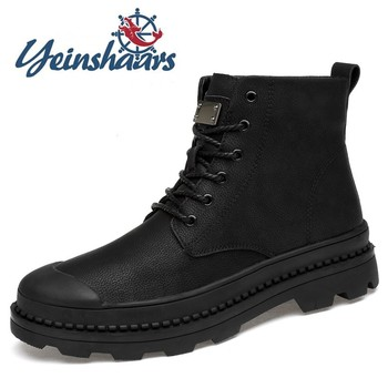 Mens Boots Genuine Leather Casual Shoes Spring Autumn Non-Slip Motorcycle Martin Boots Men Luxury Shoes Designers Botas Hombre