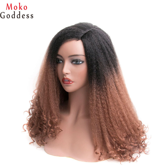Mokogoddess 흑인 여성을위한 아프리카 변태 곱슬 가발 긴 합성 가발 아프리카 계 미국인 꼰 가발