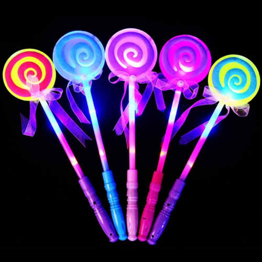 LED Lollipop Stick Les Light up Flashing Fairy Magic Wand Princess Lollipop Stick Girl Xmas Gift For Glowing Party Supplies