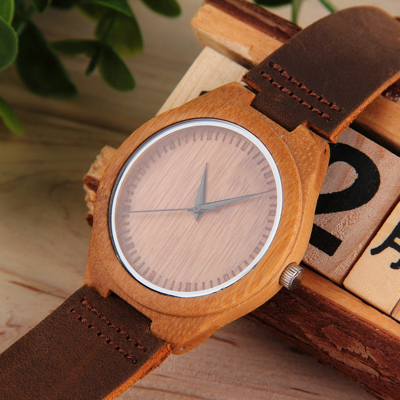 Wooden Quartz PU Leather Watch Luxury Men's Women's Bamboo Wristwatches Simple Style Lover Watchs Hot