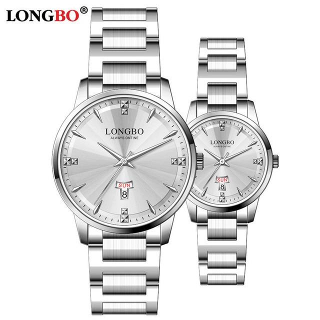 Long Bo/LONGBO new for 80580 fashion simple steel strip lovers watch waterproof watch male ladies watch