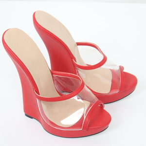 Image 4 - Jialuowei marka kadın sandalet 2018 moda seksi şeffaf sandalet 18cm yüksek topuklu takozlar pompaları Peep Toe Slip On ayakkabılar