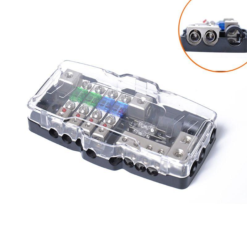 Multifonctionnel LED Stéréo AUdio de Voiture PORTE-Fusible Distribution 0/4ga 4 Voies F