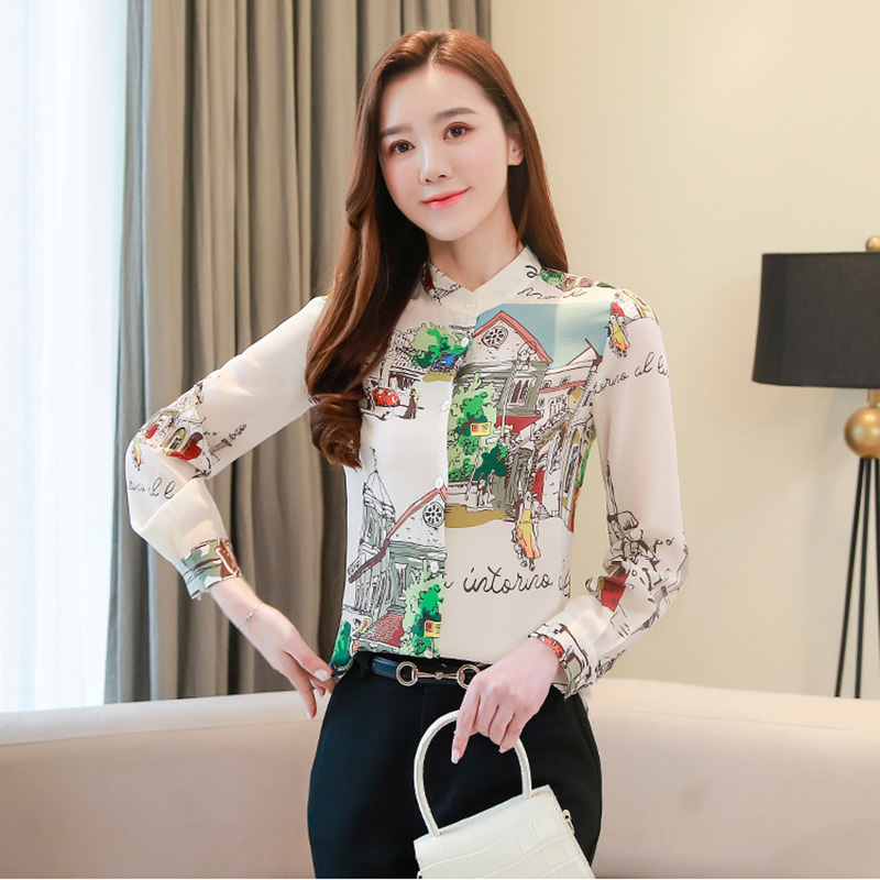 Stand Collar Print Shirt Female Long Sleeve OL Elegant Chiffon Blouse Office Ladies Tops Temperament Work Clothes Spring 2020