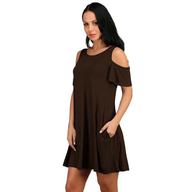 2021 new women's holiday dress European and American summer wish burst loose-shoulder short-sleeved pocket dress 4