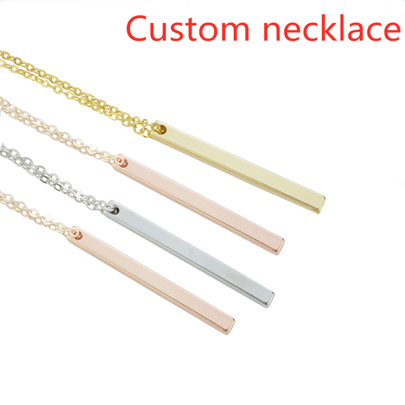 Rose Gold/Silver/Gold Four Sides Engraving Personalized Square Custom Bar Name Necklace Stainless Steel Pendant Metal Necklace