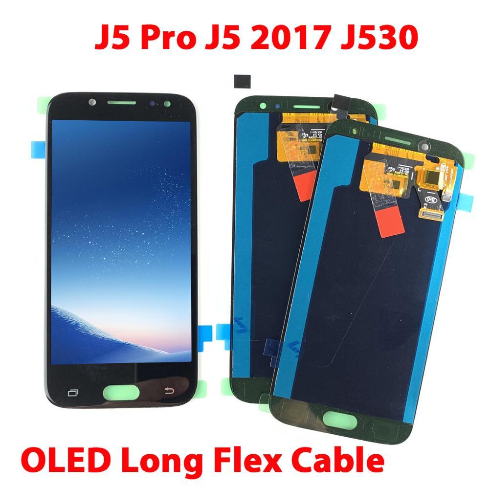 For SAMSUNG Galaxy J5 Pro 2017 J530F Digitizer Display Touch Screen LCD For Samsung J530 LCD J5Pro J530Y OLED Long Flex J530FM