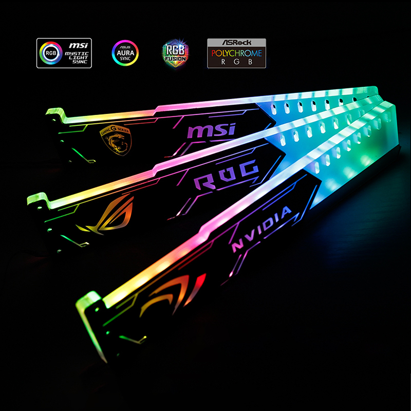 GPU Bracket 5V 3PIN A-RGB Lighting Graphics Card Support Case motherboard ASUS SYNC Frame NVIDIA ROG ASUS Gigabyte Optional image