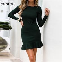Celandine woman long sleeve bodycon o neck party dress elegant ruffles wrap club autumn winter dress 2019