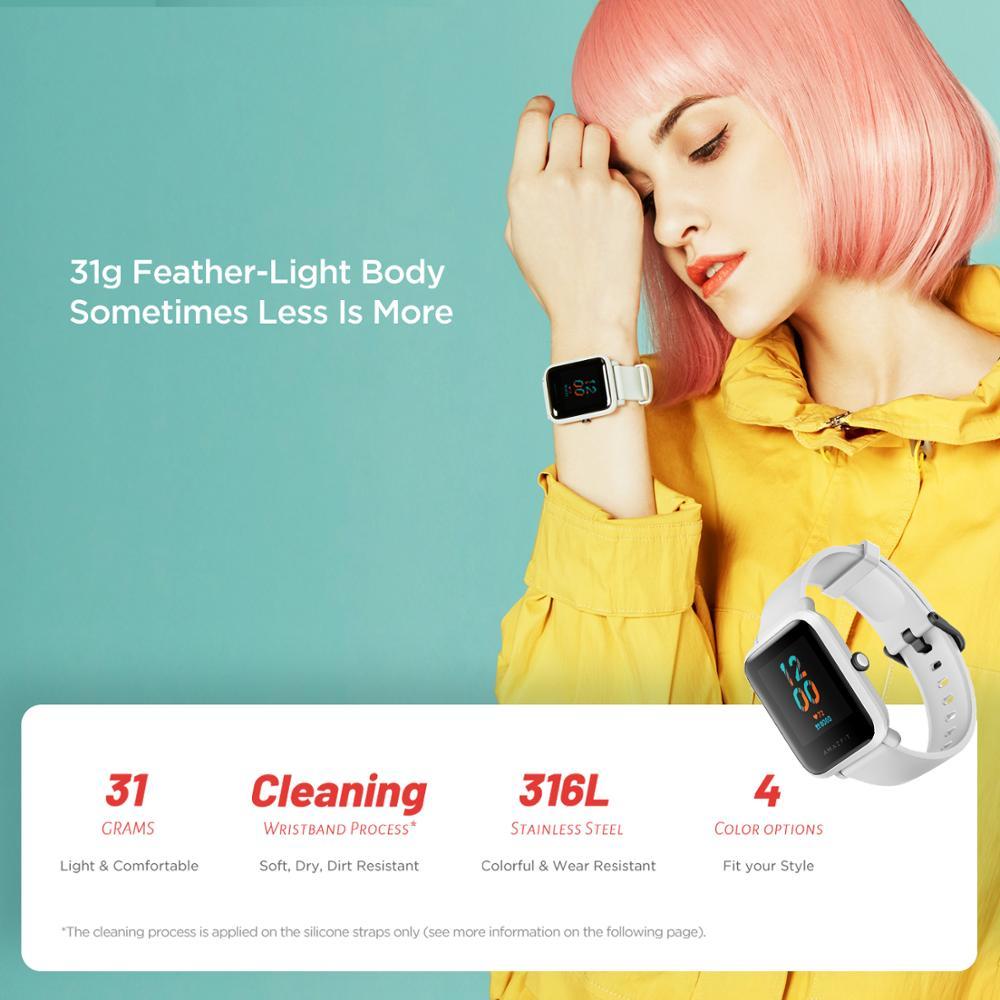 В наличии 2020 Global Amazfit Bip S Smartwatch 5ATM водонепроницаемые встроенные GPS GLONASS Bluetooth Смарт-часы для Android iOS Phone-5