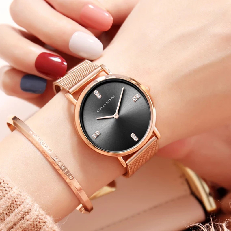 Japanese Quartz Movement Hannah Martin Full Steel Mesh Belt Waterproof Luxury Ladies Watch Rhinestone Rose Gold Women Wristwatch