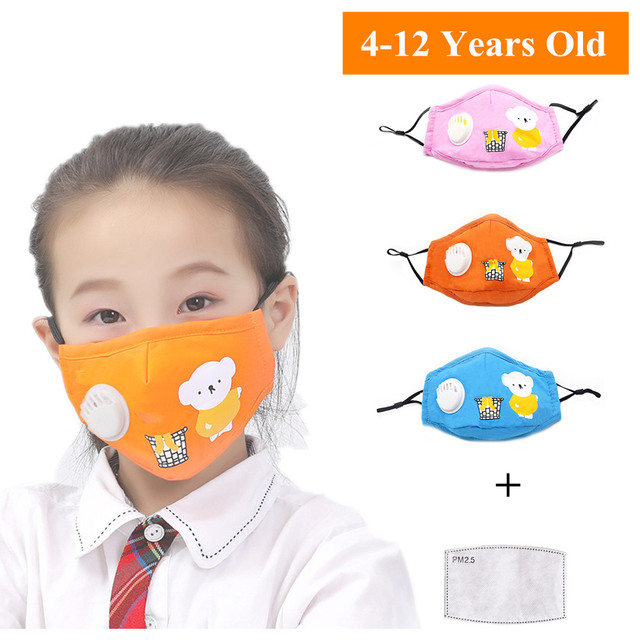 Kids Children Cotton Face Mouth Mask Dustproof PM2.5 Protective Respirator Reusable Fog Anti Flu Valve Masks with Filters
