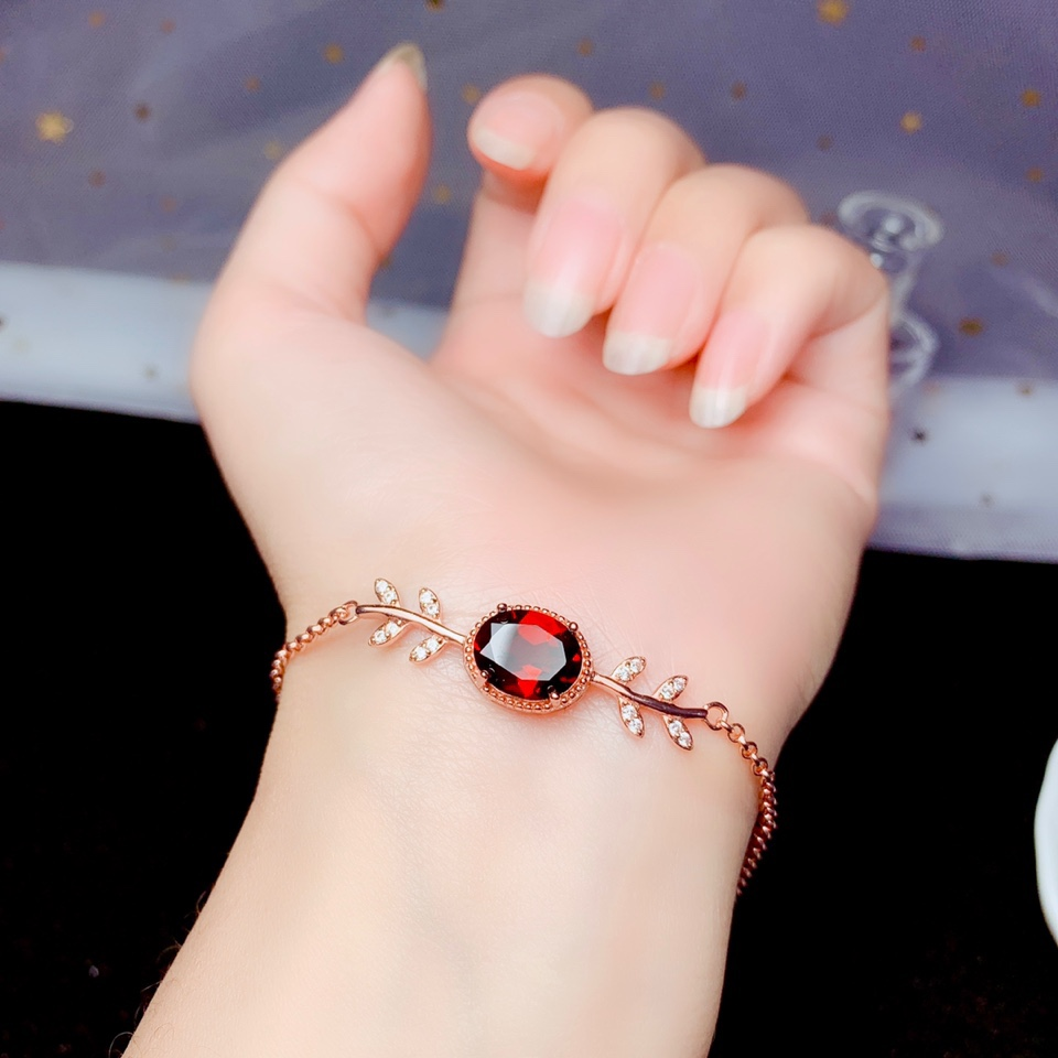 shilovem 925 sterling silver real garnet link bracelets fine jewelry classic women plant gift new party 8*10mm  bl0810998ags