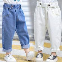 Dżinsy dziecko niemowlę niebieskie dżinsy spodnie dla chłopców 7 lat dla dzieci dżinsy dla dziewczyn luźne elastyczny pas biały spodnie dżinsowe nogi moda chłopcy tanie tanio Na co dzień Pasuje prawda na wymiar weź swój normalny rozmiar XP091 Unisex Stałe Proste light Medium DARK blue 2-8year