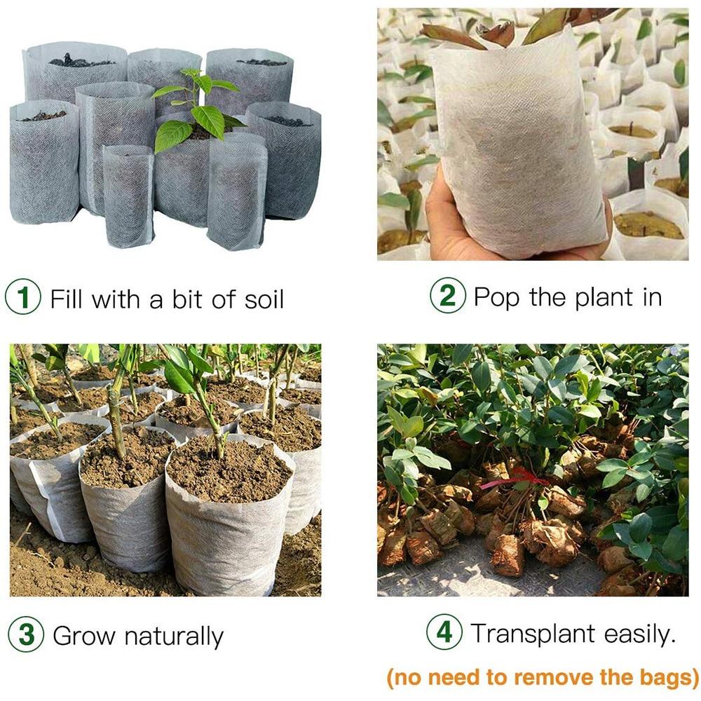 100Pcs 8*10cm/9*10cm non-woven fabric seeding nursery bags Nursery Pots Seedling raising Bags Fabrics Garden Supplies Pakistan