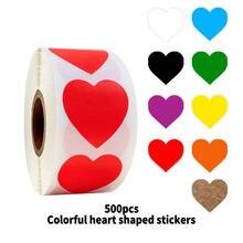 Красочные наклейки в форме сердца 500 шт/рулон 1 Дюймовые для