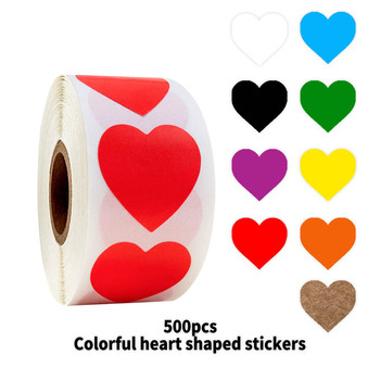 500 Pcs/roll Colorful Heart Shaped Stickers 1inch Love for School Gift Boys and Girls Cute Toys - discount item  35% OFF Classic Toys