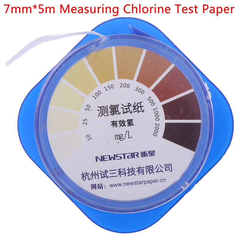 5M/Roll Chlorine Test Paper Strips Range 10-2000mg/lppm Color Chart Cleaning Water Testing Measuring