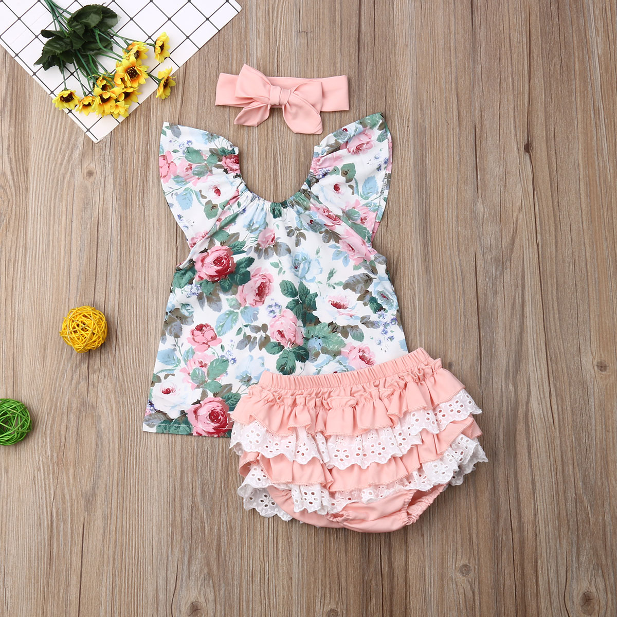 3pcs Baby Floral Printed Fly Sleeve Top Lace Patchwork Ruffle PP Shorts Headband Outfit Toddler Kids Girl Clothing Summer