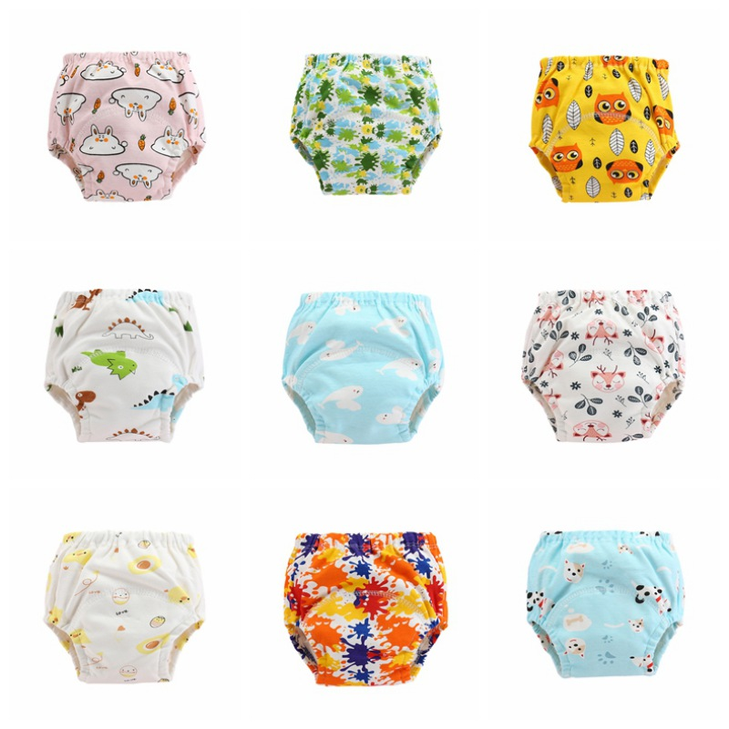 Swim Diape Cotton Cartoon Pattern Washable Infant Baby Diaper Pant High Quality Comfortable Pocket Infant Leak-proof Study Pants