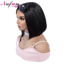 Nafun 4x4 Lace Closure Wig Human Hair Wigs Brazilian Remy Hair Pre PluckedShort Straight Bob Wig Lace Bob Wig For Black Women(China)