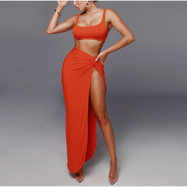 NewAsia Sexy Party 2 Piece Set Women Plus Size Crop Top Twist Side Split Long Skirts Matching Sets Club Two Piece Outfits 2021 4