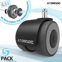 ATOMDOC 5pcs 2 Universal Mute Wheel Office Chair Caster Replacement Casters Rubber Soft Safe Roller Furniture Wheel Hardware