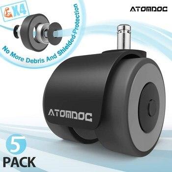 Atomdoc 5Pcs 2 Universal Mute Wiel Bureaustoel Caster Vervanging Wielen Rubber Zachte Veilige Roller Meubels Wiel Hardware