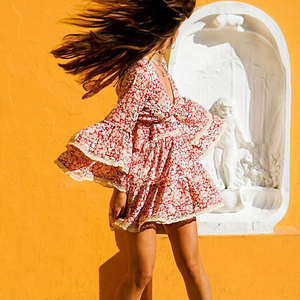 Image 2 - TEELYNN فستان وردي 2020 رايون طويل الأكمام الأزهار طباعة الخريف فساتين قصيرة للنساء فساتين حديقة حفلة بوهو فستان vestidos