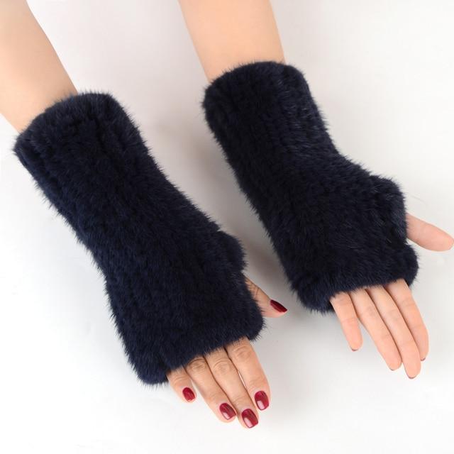 Fingerless Gloves Knitted Women Real Fur Mink Fur Winter Mink Fur Mittens For 2020 New Fashion Knitted Mink Fur Women Gloves 3