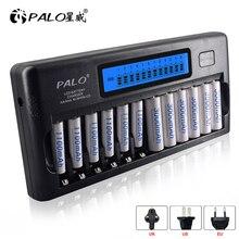 PALO cargador de batería AA de 12 ranuras carga rápida, cargador de batería recargable, LCD, inteligente, AAA, 1,2 V, 2A, 3A, aa