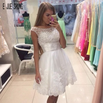 E JUE SHUNG  Luxury Pearls Short Wedding Dresses Scoop Neck White Lace Appliques short Bridal Dresses Robe De Mariee