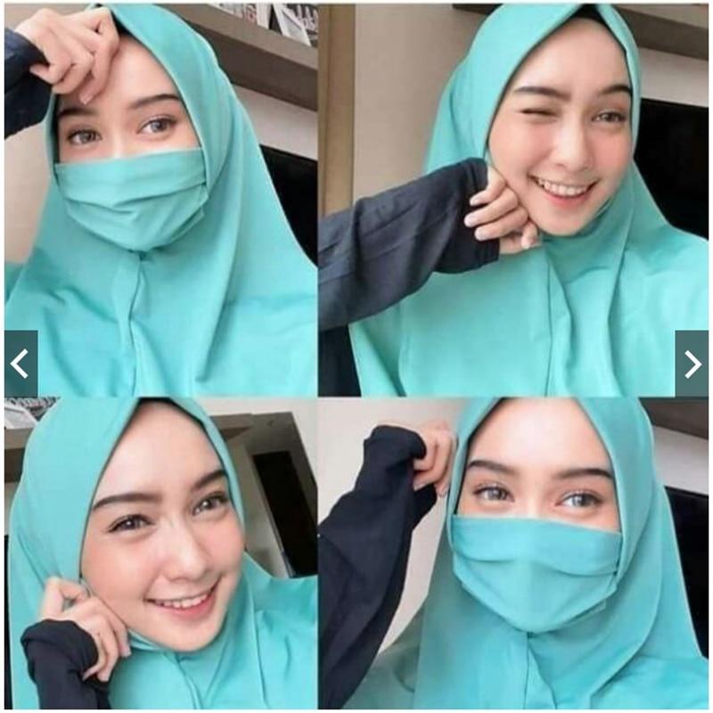 Muslim Women Ramadan Prayer Veil Wrap Head Covering Scarf Niqab Burqa Bonnet Hijab Cap Arab Abaya Headwear Black Face Cover