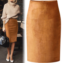 купить Sexy Suede Midi Pencil Skirt Women 2019 Fashion Elastic High Waist Office Lady Bodycon Skirts Saias Sexy Split Skirt Ladies Hot дешево