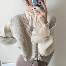 Autumn Women Korean Vest Loose Short V-Neck Knitted Beige Sleeveless Sweater