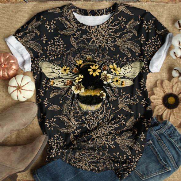 Lugentolo Women TShirt Summer Bee Digital Printing Short Sleeve O-Neck Polyester Casual Fashion Womens T shirt