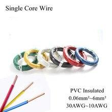 Fio elétrico isolado de pvc, 30awg ~ 10awg bv 0.06mm ~ 6mm quadrado simples fio resistente isolado cabo eletrônico de cobre