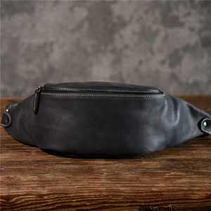 Image 2 - PNDME high quality cowhide simple vintage chest bag genuine leather mens shoulder messenger belt bag casual sports waist packs
