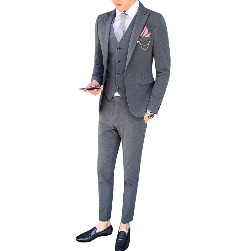 Высококачественный Костюм Джентльмена классический мужской тонкий синий клетчатый Повседневный Свадебный костюм удобный деловой повседн... - 6