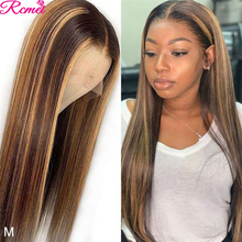 P4/27 13x4 Brown Highlight Lace Front Human Hair Wigs Pre Plucked Straight Highlight Wig Ombre Highlighted Lace Frontal Wig 150%