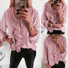 Женские топы с длинным рукавом, футболка с рюшами, v-образный вырез, офисная блузка