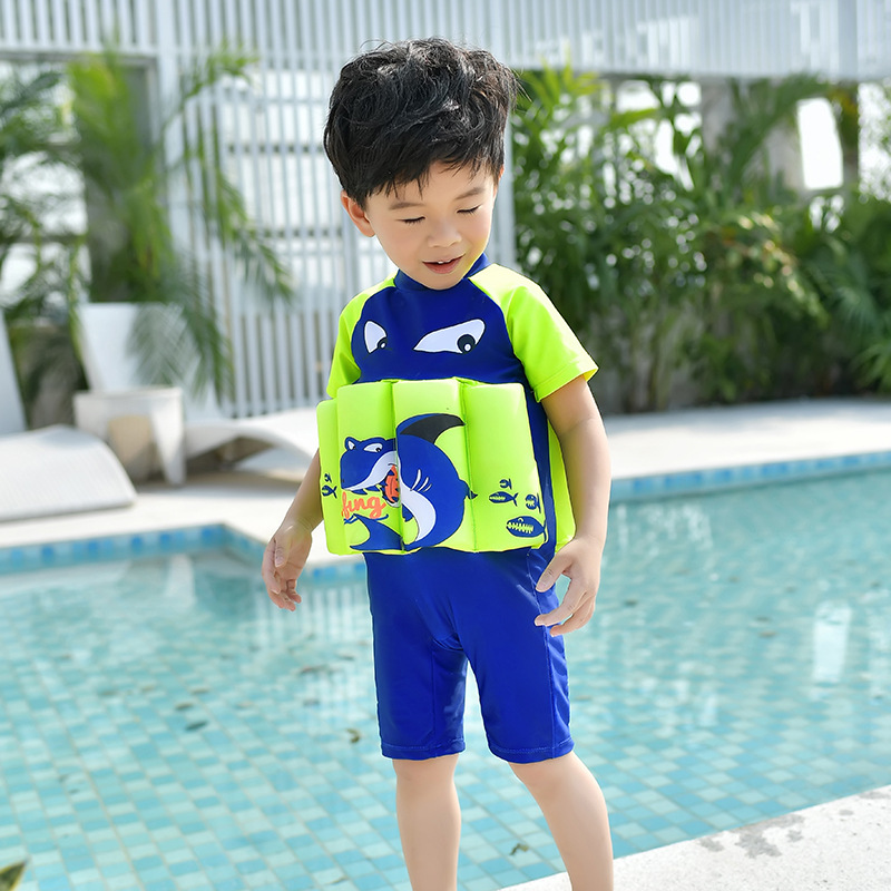 2018 New One-piece One-Piece Zipper Crew Neck Send Swimming Cap Cartoon Pattern BOY'S Deconstructable CHILDREN'S Buoyancy Swimsu
