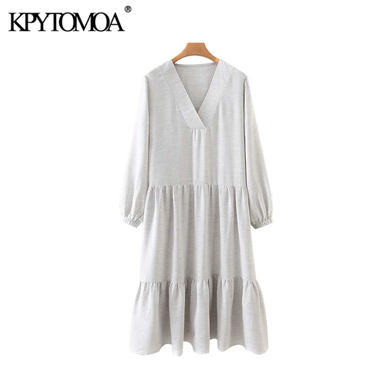 Vintage Stylish Solid Pleated Midi Dress Women 2020 Fashion V Neck Long Sleeve Female Dresses Chic Vestidos Mujer