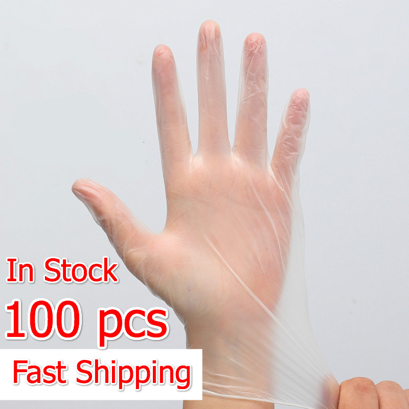 100Pcs/Box Bulk Sale Protective Disposable PVC Gloves For Kitchen Cooking Cleaning Waterproof Safety Transparent Touch Screen